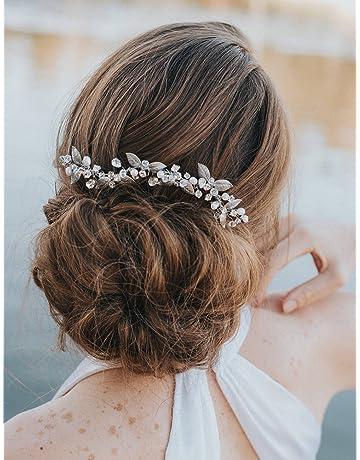 Kercisbeauty - Peineta de pelo largo para novia, novia, dama de honor, pequeñas