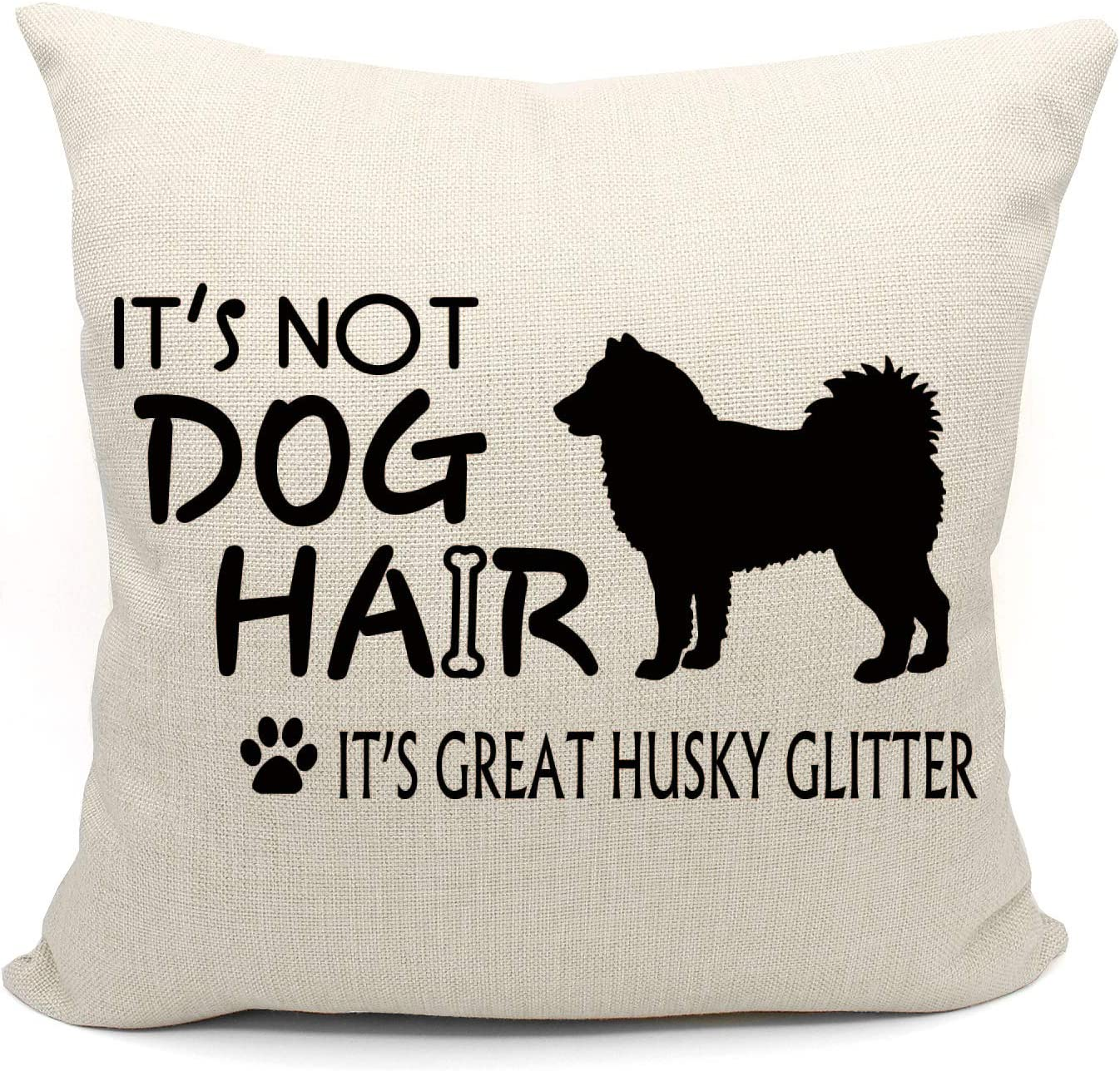 It's Not Dog Hair It's Husky Glitter Throw Pillow Case, Dog Lover Gifts, Husky Decor, Husky Lover Gift, Husky Mom Gift, 18 x 18 Inch Decorative Cotton Linen Cushion Cover for Sofa Couch Bed