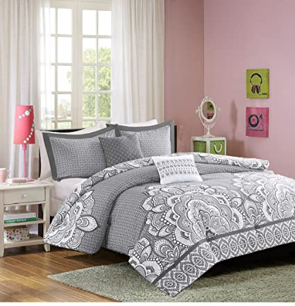 IDB Modern Teen Bedding Girls Comforter Set Grey White Medallion Design  With Embroidered Pillows Perfect For