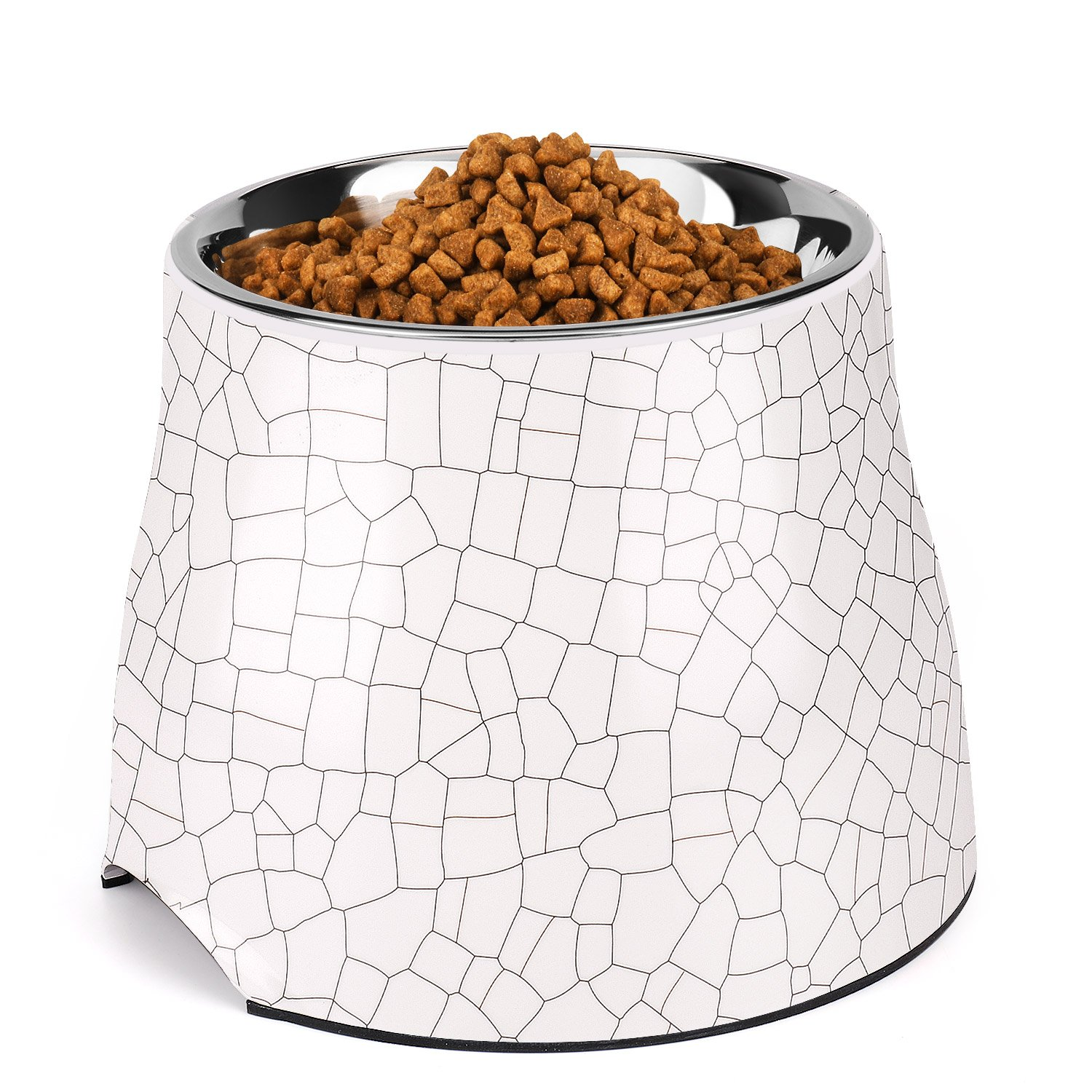 Flexzion Stainless Steel Elevated Dog Bowl Feeder - Raised Cat Pet Dish with Removable Food Water Holder Anti-tip Rubber Slip Bottom for Geriatric Older Medium Large Breeds Puppy (31 oz, Cracks)