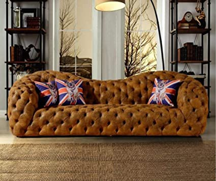 Amazon.com: My Aashis Modern Leather Sofa Couch Chesterfield Sofa ...