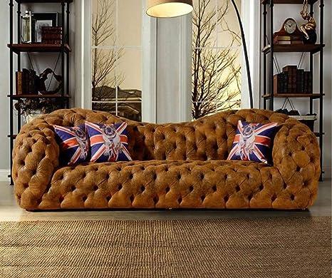 Amazon.com: My Aashis Sofá de cuero moderno Chesterfield ...