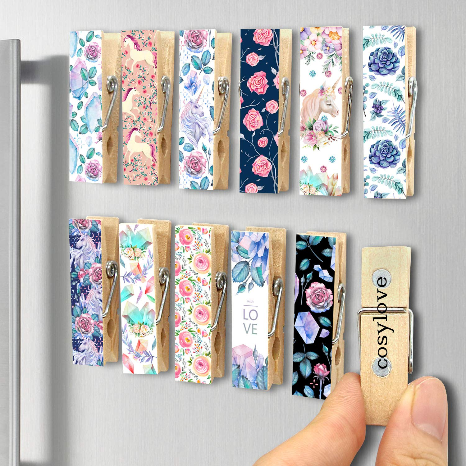 12pcs Refrigerator Magnet Clips by Cosylove-Decorative Magnetic Clips Made of Wood with Beautiful Patterns–Super Fridge Magnets for House Office Use - Display Photos,Memos, Lists, Calendars (unicorn)