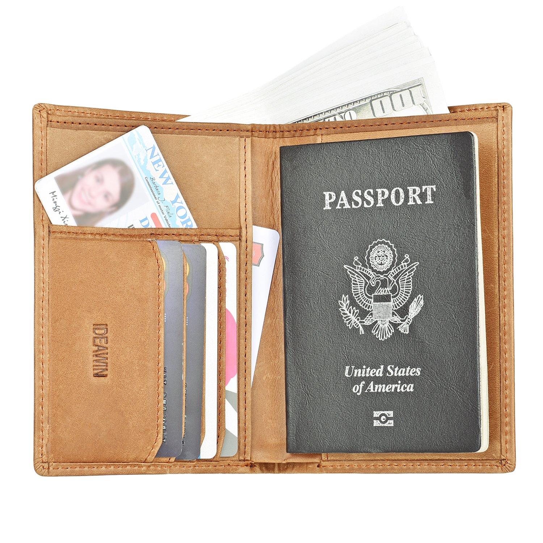 IDEAWIN Travel Passport Wallet Passport Holder RFID Block Leather Passport Cover