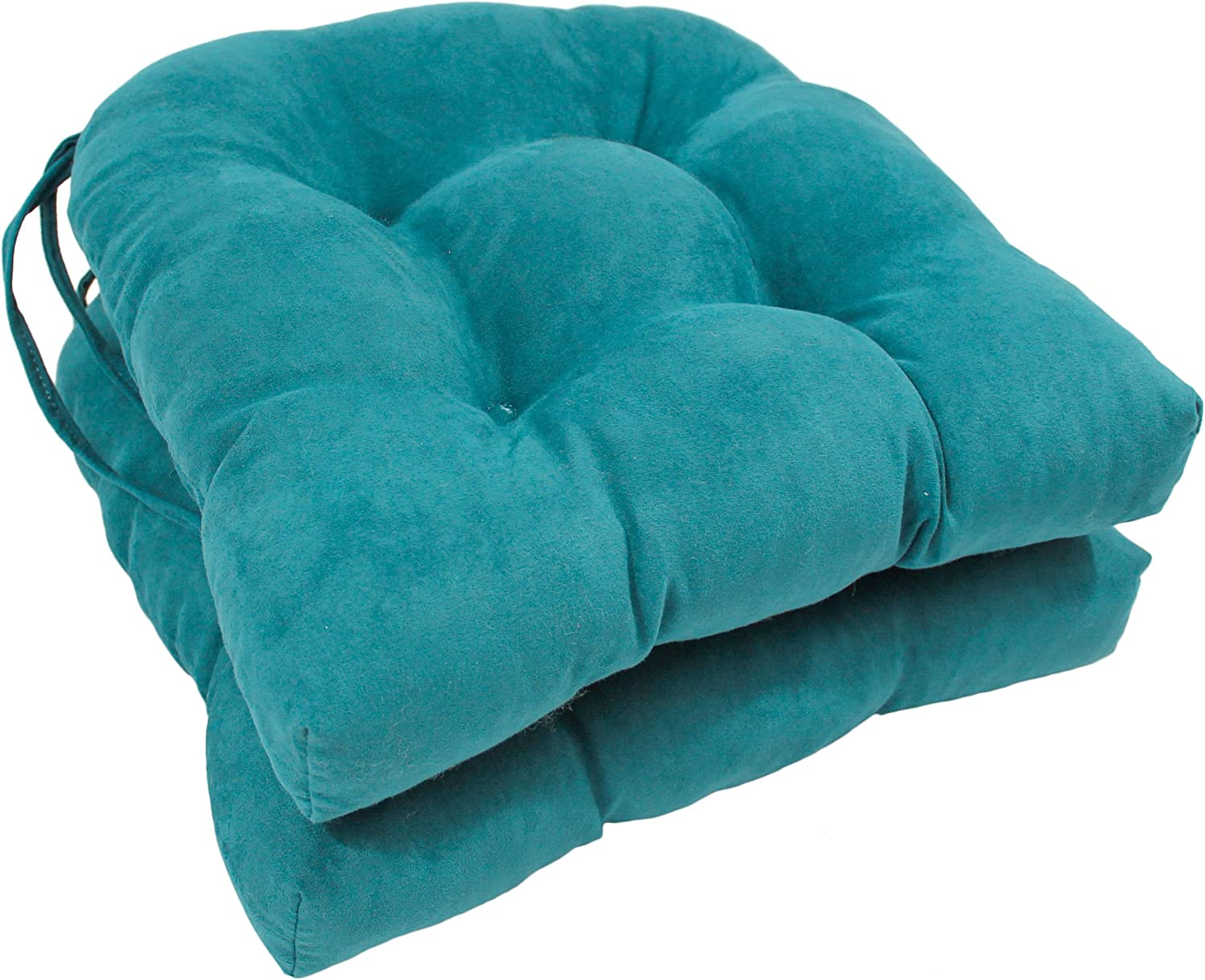 Blazing Needles Solid Microsuede U-Shaped Tufted Chair Cushions Set of 2 , 16 , Aqua Blue