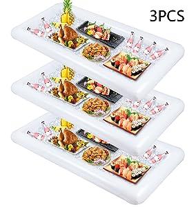 Inflatable Serving Bar, Buffet Cooler with drain plug - Salad Picnic Ice Food Server - Luau Pool Hawaiian Party Supplies 3PCS