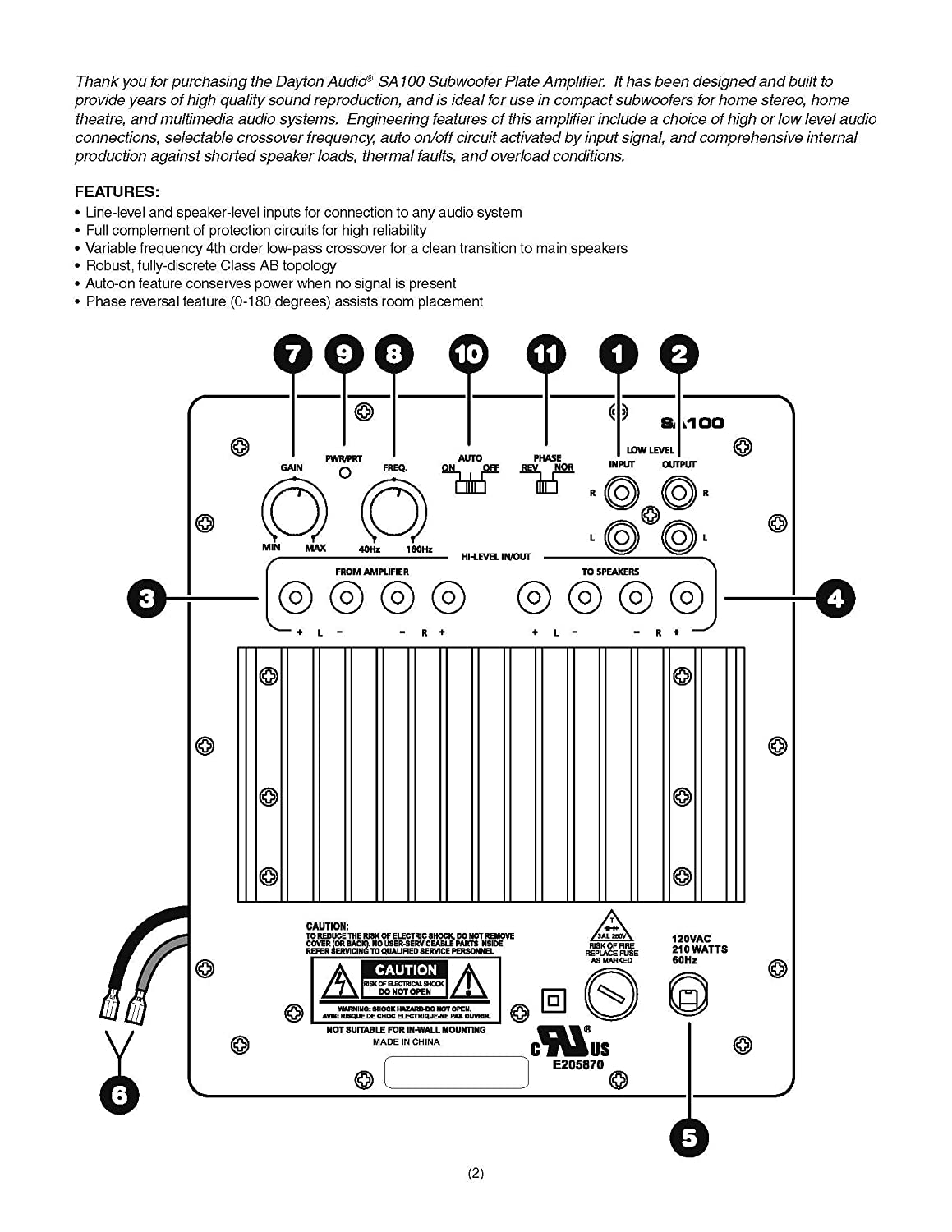 Dayton Audio Sa100 100w Subwoofer Plate Amplifier Circuit Wiring Diagram Electronics