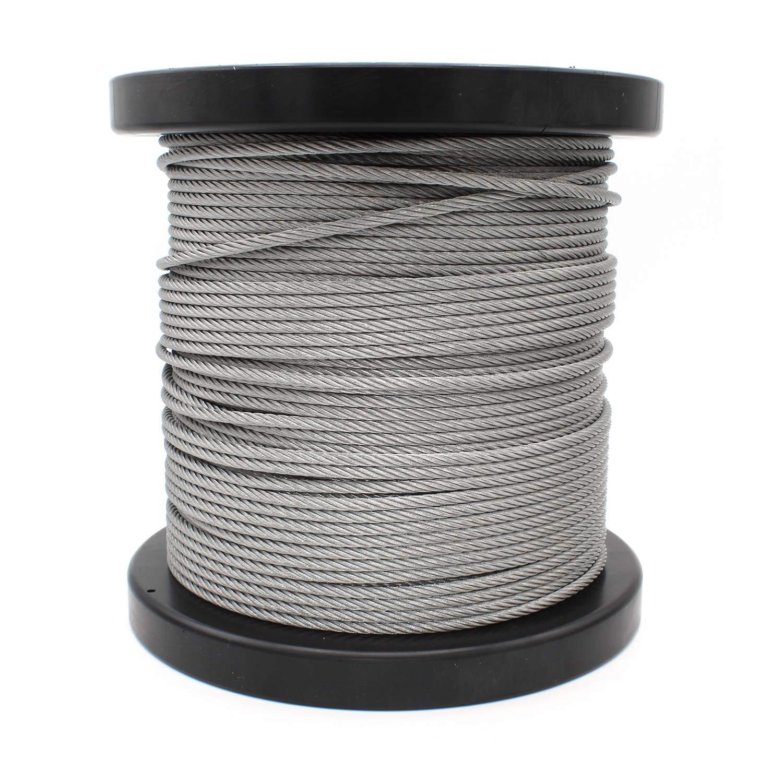 HEAVYTOOL - Cable de alambre de acero inoxidable (4 mm, 7 x 19 mm, blando/flexible, 100 m, V4A AISI 316 BL: 850 kg)