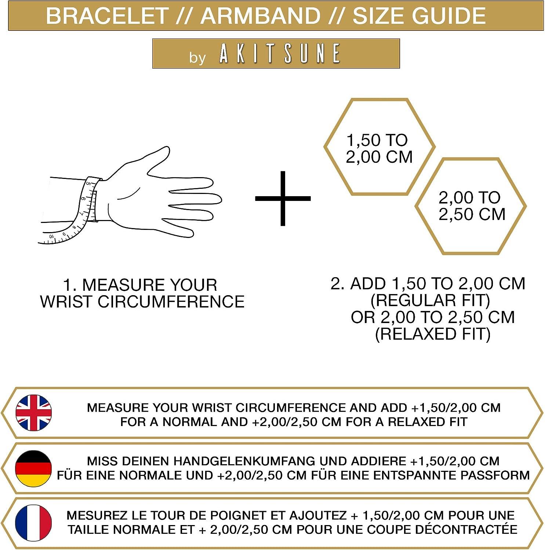Akitsune Bracelet en Cuir V/éritable Fides Bracelets Femmes Bracelet en Acier Inoxydable pour Hommes