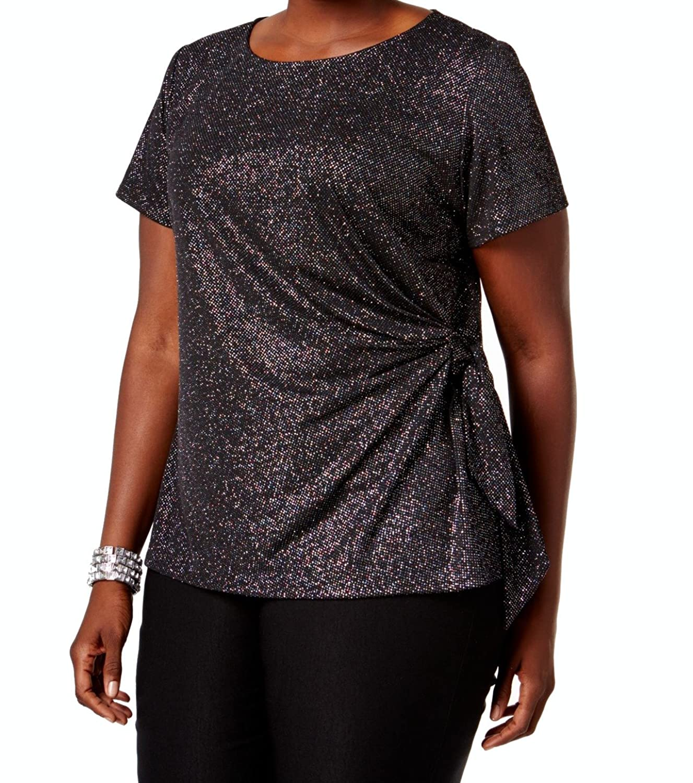 1f427092457 MSK Women Womens Plus Glitter Side Tie Blouse Black 2X at Amazon Women s  Clothing store