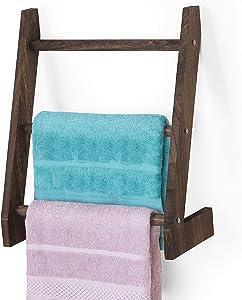 LIANTRAL Towel Ladder Rack, 3-Rung Wood Blanket Ladder, Farmhouse Hand Towel Holder Ladder Decor for Bathroom, Kitchen Countertop (Rustic Burnt Wood)