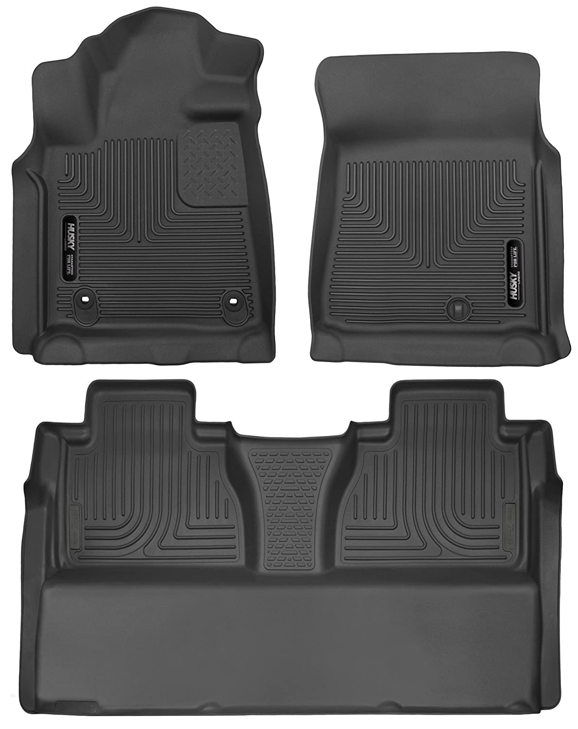Husky Liners 53711-53841 - X-Act Contour - First and Second Rows (Full Coverage under Second Row Seat) All Weather Custom Fit Floor Liners for 2014-2018 Toyota Tundra CrewMax