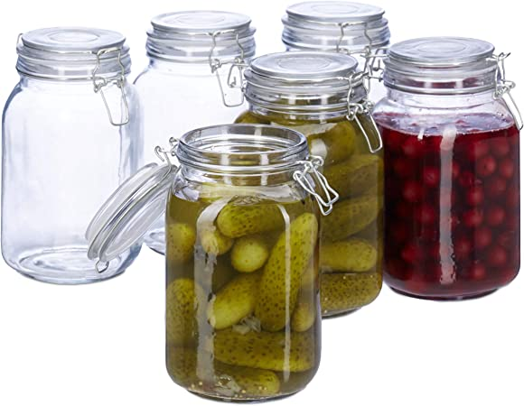 ermetico trasparente guarnizione in gomma vasetto XXL per conserve Relaxdays barattolo di vetro 3 litri chiusura a scatto