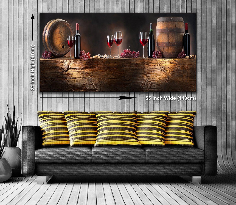 Bouteille de Vin et corps panoramique murale encadr/ée Impression sur toile XXL 139,7/x 61/cm de plus de 1,4/m de large x 0,6/m haute pr/êts /à poser