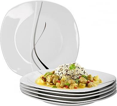 Men/ü-Teller flach Gastro-Geschirr Van Well 4er Set Speiseteller Silver Night einzeln 250 x 250 mm gro/ßer Servierteller Hotelporzellan abstraktes Dekor