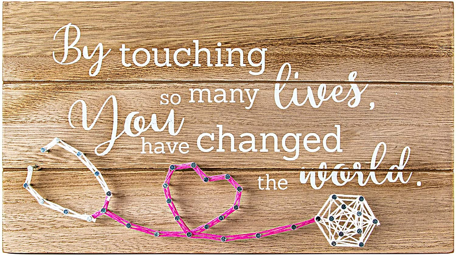 VILIGHT Nurse Retirement Gifts for Women - Thank You Appreciation and Retiring Gift Sign - by Touching So Many Lives You Have Changed The World - Handmade 3D String Art 12x6.6 Inches