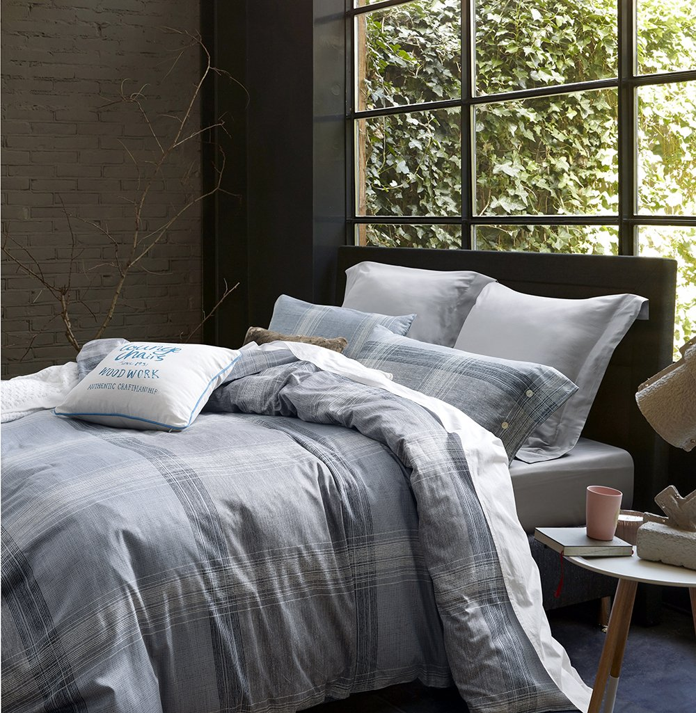 3pc Bedding Set, Grey Plaid