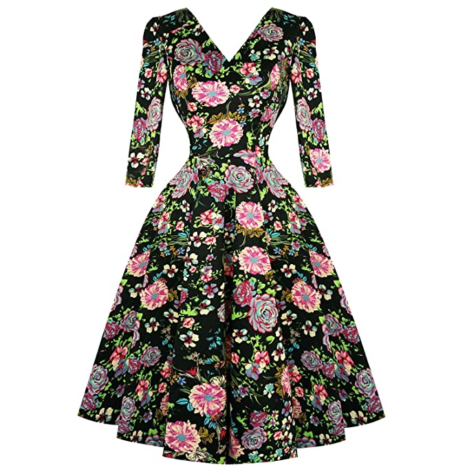 Hearts & Roses Londres Negro Rosa Florado 1950s Vintage Retro de Campana Vestido con Vuelo -