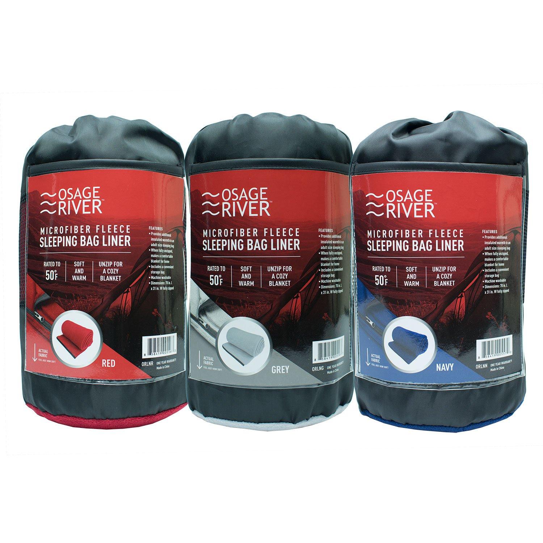 0b58a97eb3 Amazon.com   Osage River Gear Microfiber Fleece Zippered Sleeping Bag Liner  with Carry Storage Bag (Grey Fleece Sleeping Bag Liner)   Sports   Outdoors