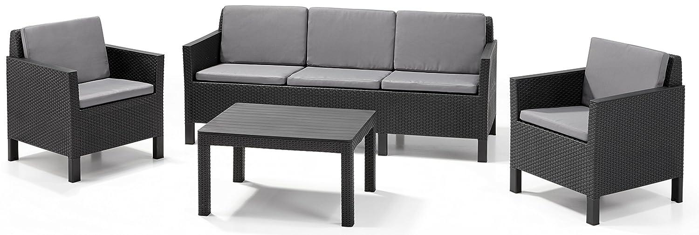 allibert lounge set chicago 3 seater grau 4 teilig kaufen. Black Bedroom Furniture Sets. Home Design Ideas