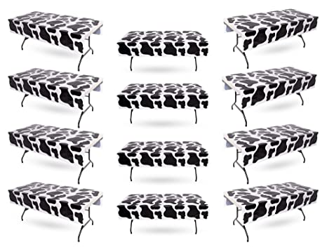 Amazon Com Cow Print Tablecloth Bulk Pack Of 12 Plastic Table