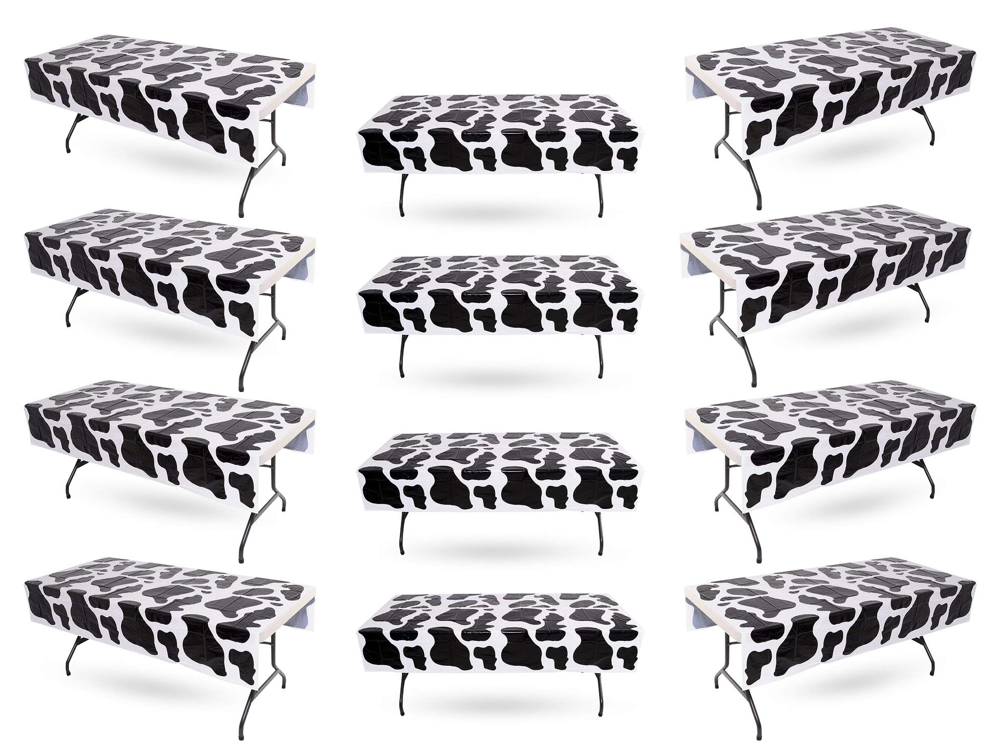 Cow Print Tablecloth Bulk Pack of 12 Plastic Table Covers - Birthday Party, Carnival, Farm Animal, Party Supplies, 54'' x 72'' By 4E's Novelty