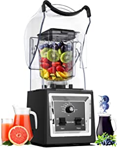 Wantjoin Professional Commercial Blender Soundproof Quiet blender with Removable Cover ,Timer for ice crushing,smoothie,puree,hummus,salsa. Blender for kitchen with intelligent and Manual control (black)