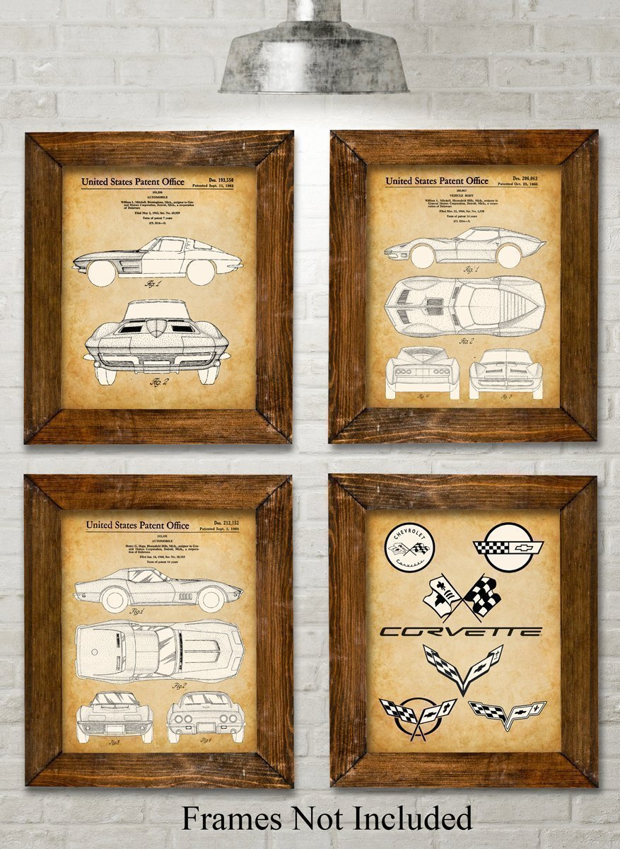 Original Corvette Patent Art Prints - Set of Four Photos (8x10) Unframed - Great Gift for Corvette Owners