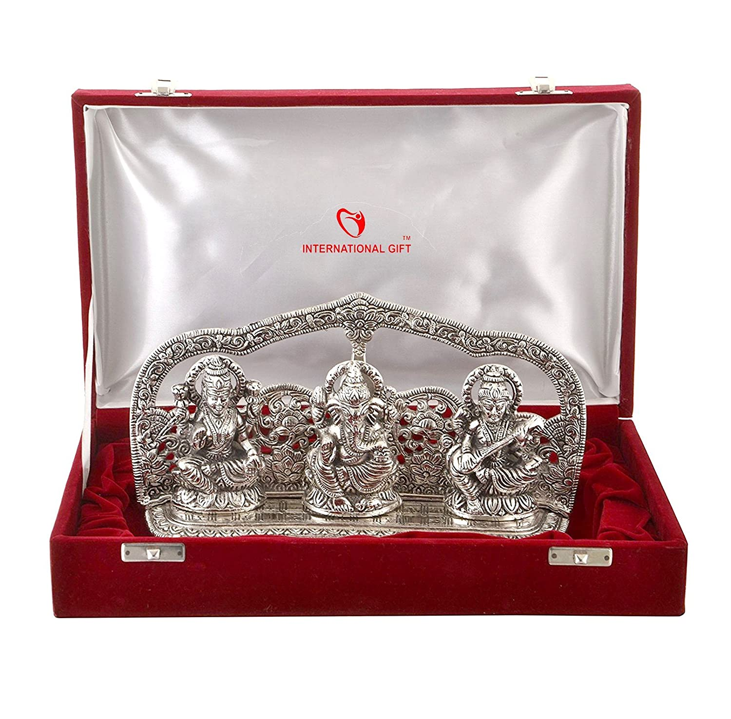 503dd9aab0d8 Buy International Gift Silver Finish Laxmi Ganesh Sarswati God Idol With  Beautiful Velvet Box Exclusive Gift For Diwali