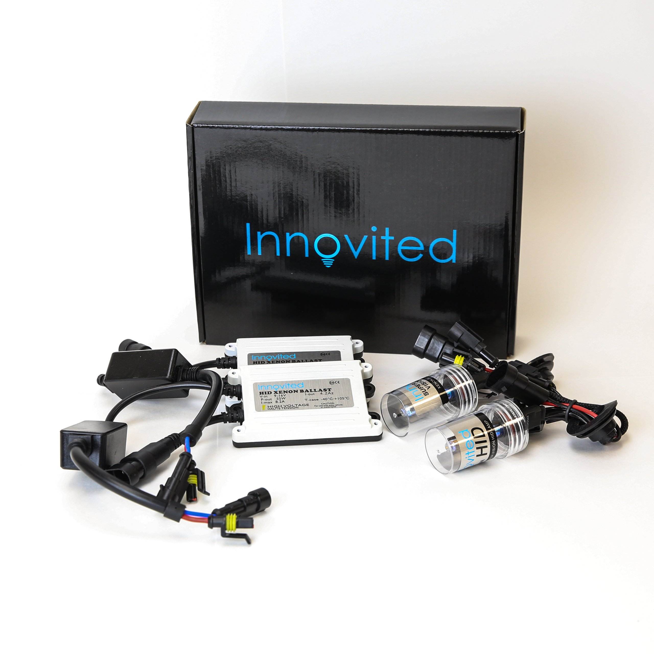 Innovited 55W AC HID Xenon Conversion Kit ''All Bulb Sizes and Colors'' with Digital Slim Ballast - 9006 - 6000K - 2 Year Warranty
