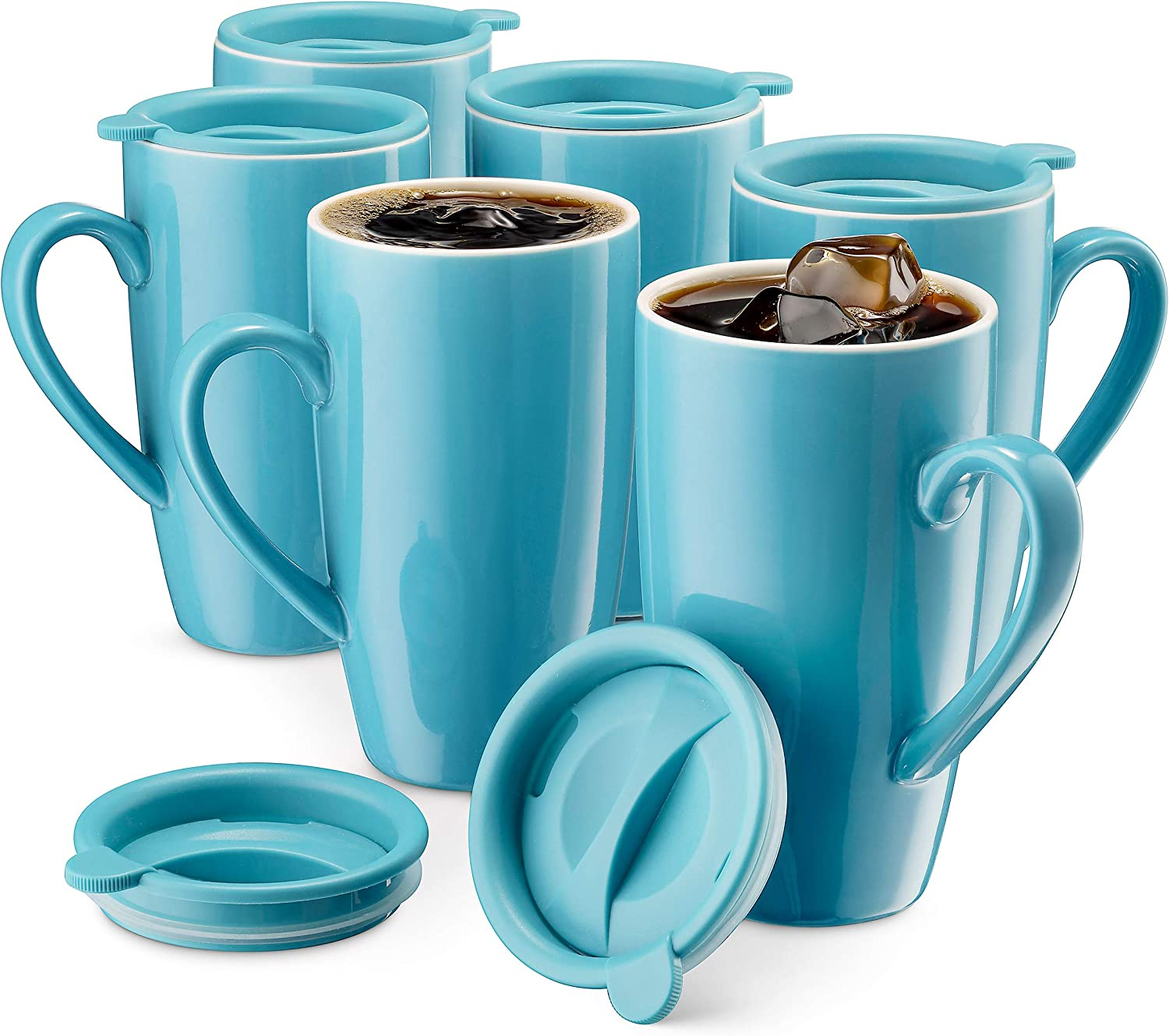 MITBAK 6-Pack Ceramic Coffee Mug Set with Lids (16-Ounce) | Large Blue Tumbler Mugs Great for Taking Your Coffee & Tea To-Go | Large Insulated Mug Set Excellent Choice for Camping, Travel & Office