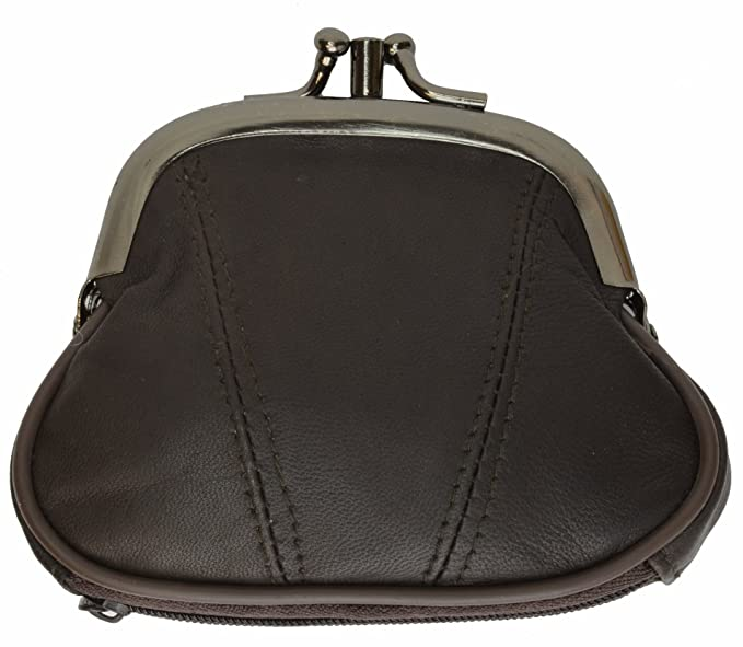 c2da122bc16 Marshal Wallet Coin Purse Double Frame With Zipper Pocket (Brown) at ...
