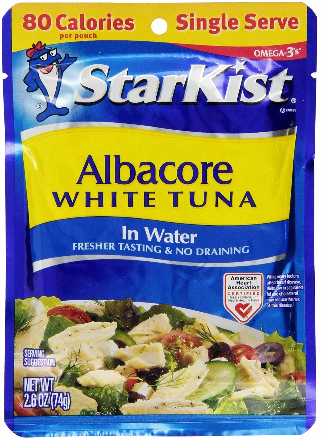 StarKist Albacore White Tuna in Water, 2.6-Ounce Pouch (Pack of 4)