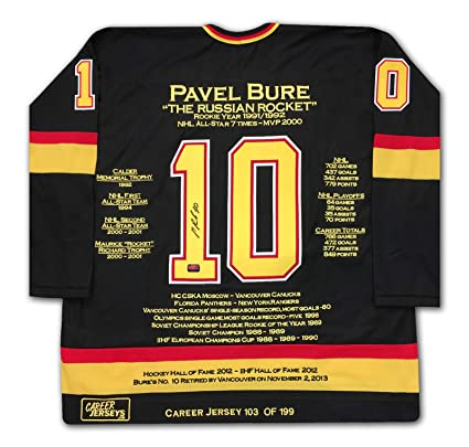 Pavel Bure Career Jersey - Autographed - LTD ED 199 - Vancouver Canucks 88b403272