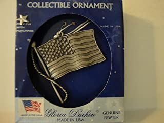 """product image for Gloria Duchin Cellectible Ornament:"""" Pewter Flag"""" with Bonus Star Press Pin"""