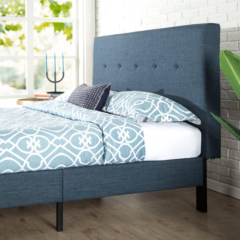 Zinus Upholstered Navy Button Detailed Platform Bed Wood
