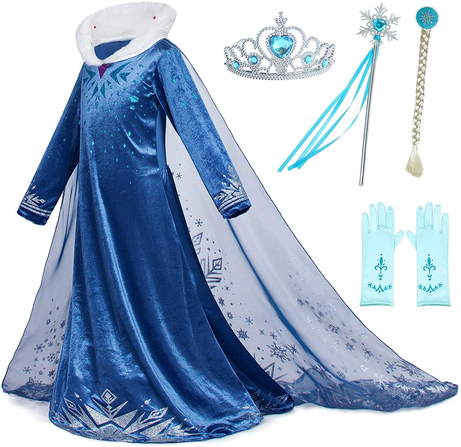 Party Chili Princess Dress Up for Little Girls Costumes with Gloves,Crown,Wand,Wig Accessories Age of 2-11 Years