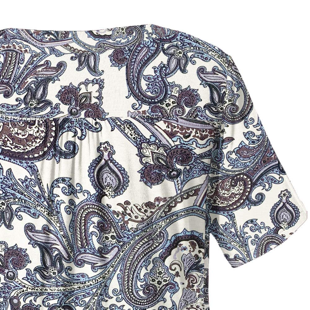 UVomade Women Plus Size Tops Short Sleeve Blouses Flowy Summer Tunic Tops M4X