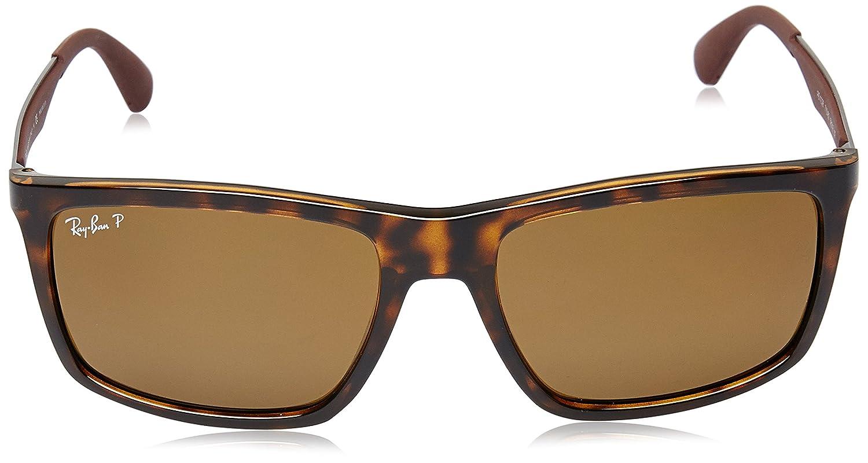 668e4ee7c9 Amazon.com  Ray-Ban Injected Man Sunglasses - Light Havana Frame Polar  Brown Lenses 58mm Polarized  Clothing