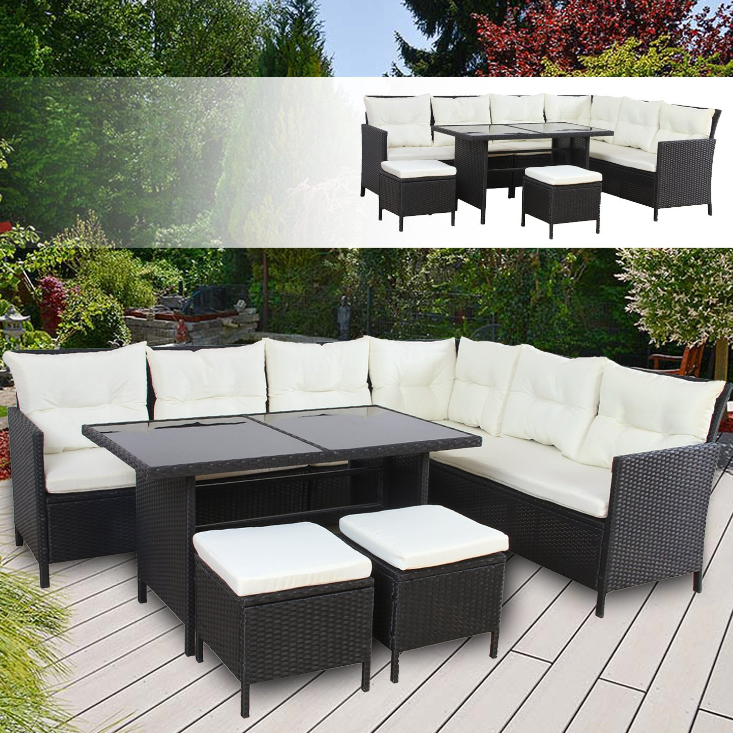 boston poly rattan gartenm bel schwarz gartenset lounge sitzgruppe gartengarnitur g nstig online. Black Bedroom Furniture Sets. Home Design Ideas