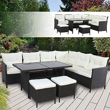 BOSTON Poly Rattan Gartenmöbel Schwarz Gartenset Lounge Sitzgruppe ...
