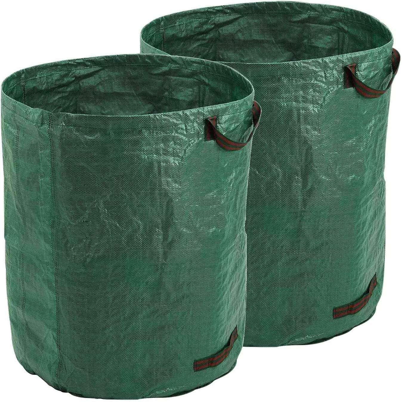 Zxcv 2 Pack 132 Gallon Collapsible Garden Bag Reusable Trash Can Durable Yard Waste Leaf Bags for Gardening Home or Camping