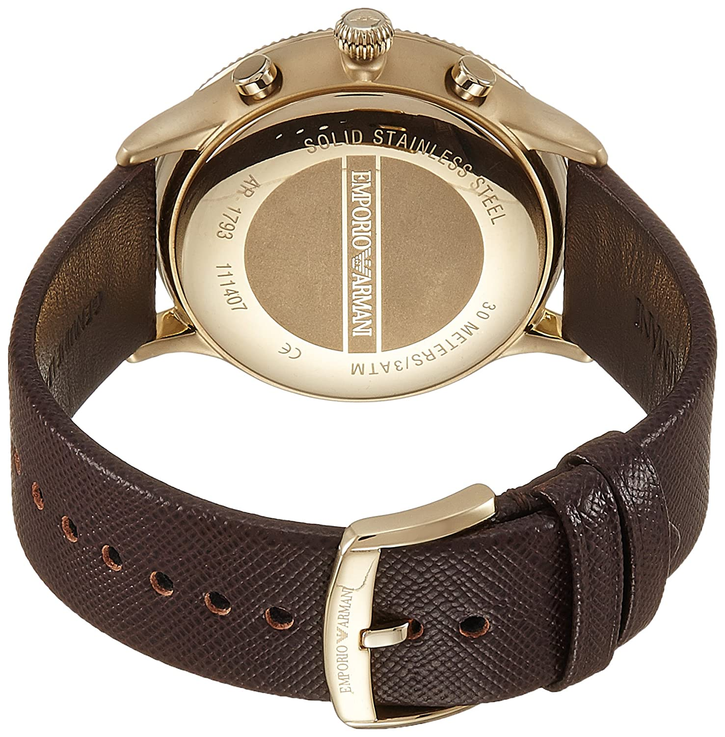 Amazon.com: Emporio Armani Mens AR1793 Dress Brown Leather Watch: Emporio Armani: Watches