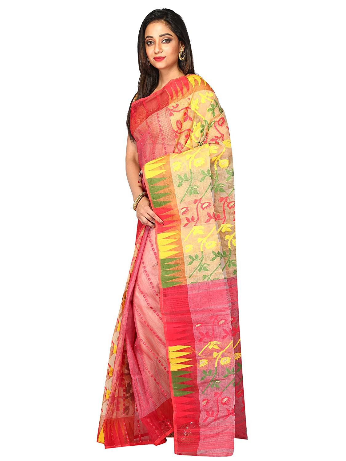 2a91b3947a Amazon.com: B3Fashion Indian Traditional Handloom Pure Dhakai Jamdani  Saree: Clothing