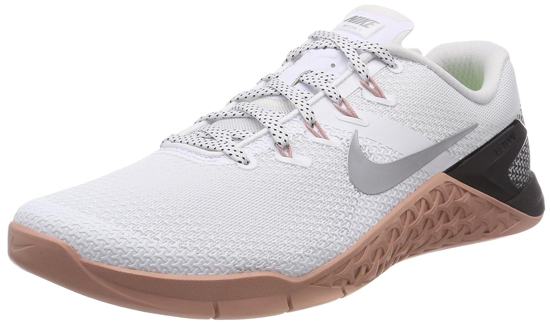 NIKE Women Metcon 4 Training Shoe Grey B071ZF6KXZ 10 B(M) US|White/Metallic Silver-m