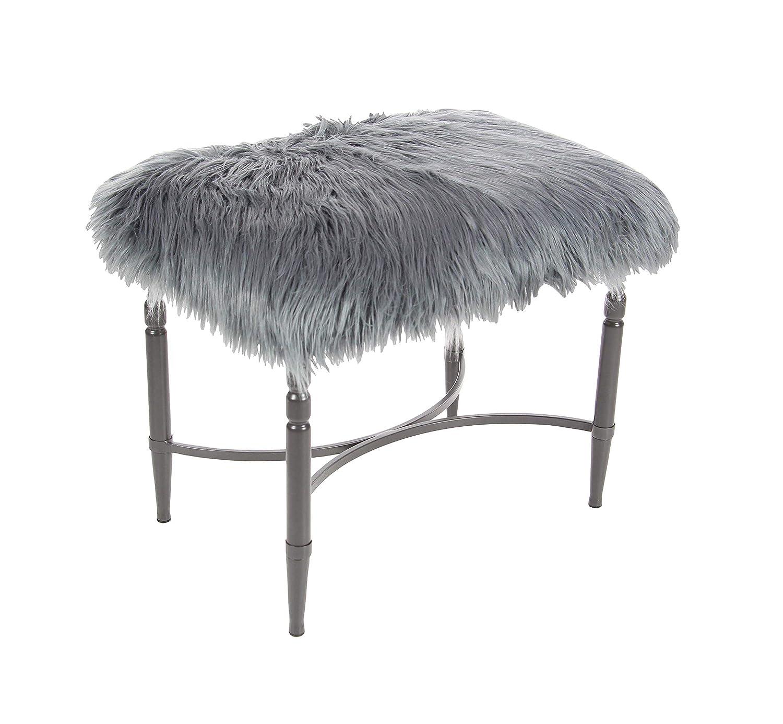 Deco 79 Metal Faux Fur Stool 26 W, 20 H, gray silver