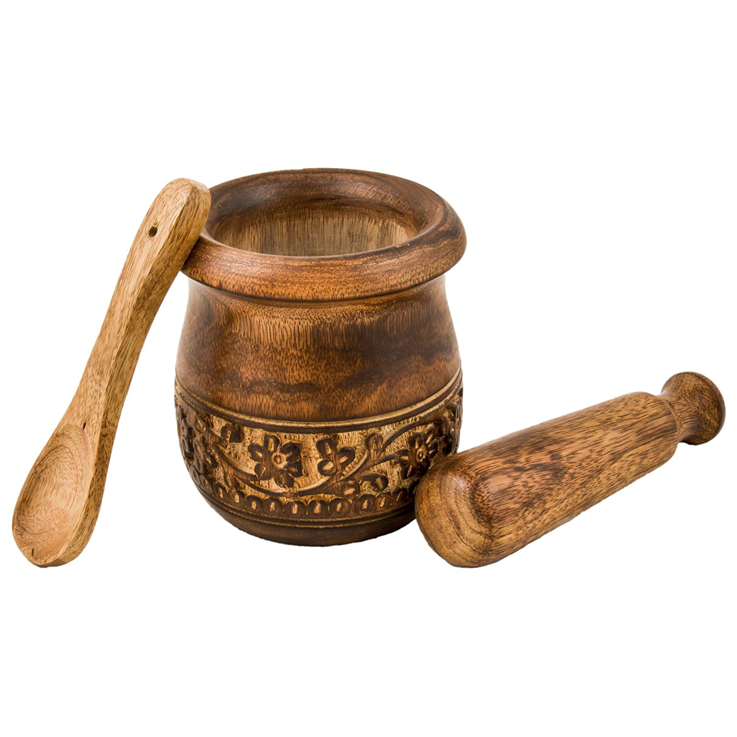 Mothers Day Gifts - GoCraft Wooden Engraved Mortar and Pestle Grinder for Herbs, Spices and Kitchen Usage, Natural Mango Wood Engraved | Handmade Mortar and Pestle - 3.5 in COMINHKPR152290