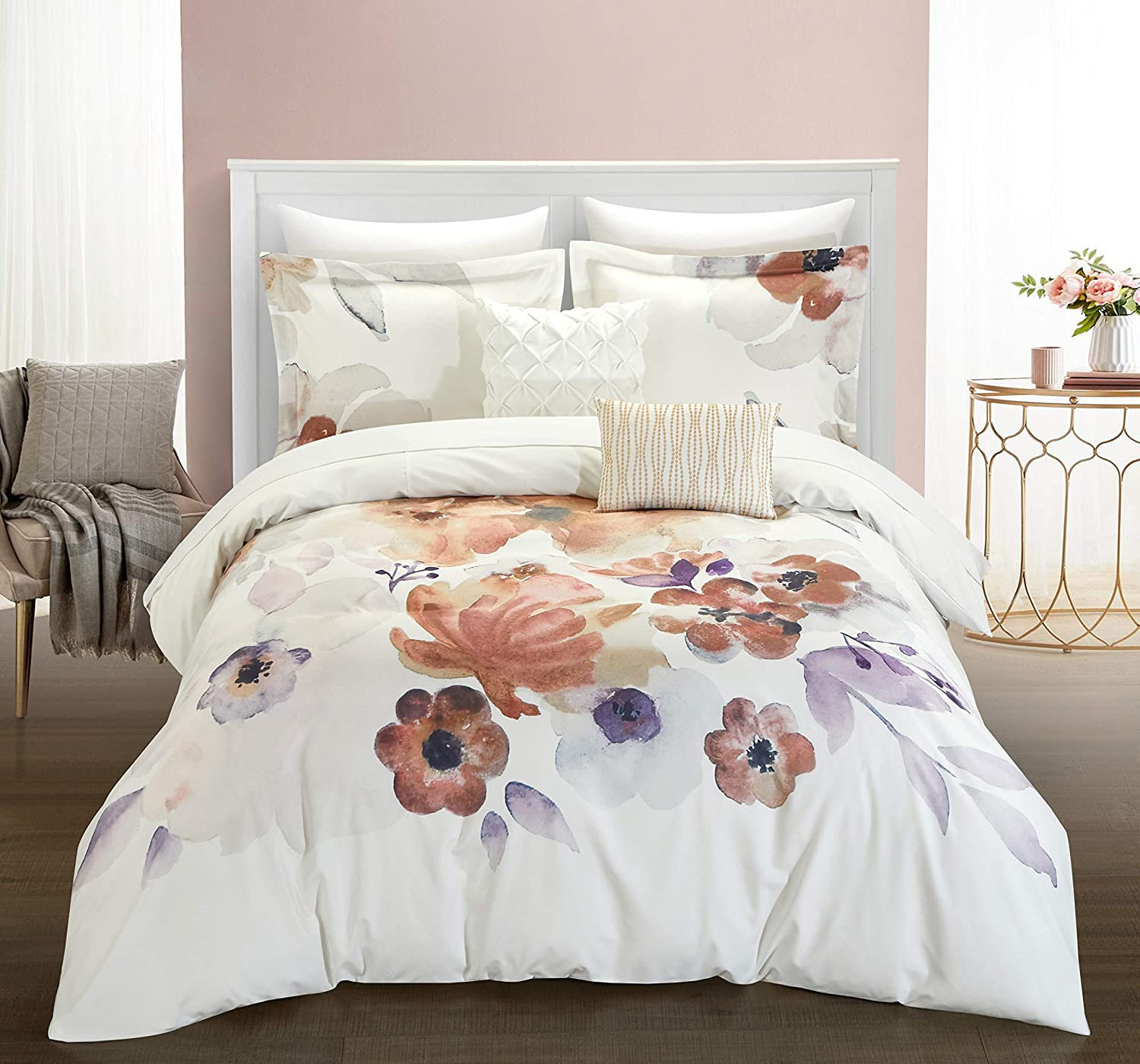 Chic Home Riverside Park 5 Piece Comforter Set Large Scale Floral Pattern Print Bedding - Decorative Pillows Shams Included, King, Multi-Color