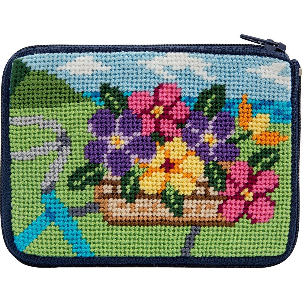 Stitch and Zip Springtime Ride Needlepoint Coin Purse Kit Alice Peterson sz218