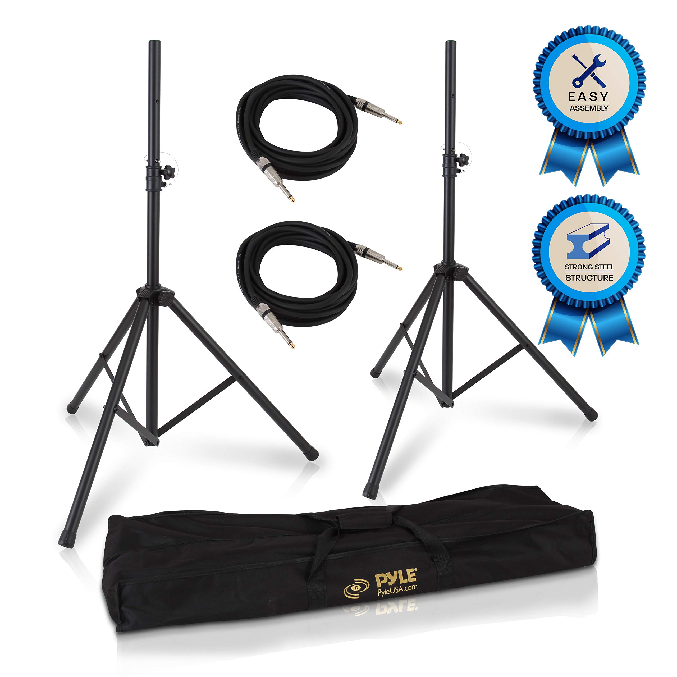 Pyle Stage & Studio DJ Speaker Stand Kit - Pro Audio PA Loudspeaker Stands & Audio Cable, Storage Bag, 1/4'' -inch Connector (PMDK102) by Pyle